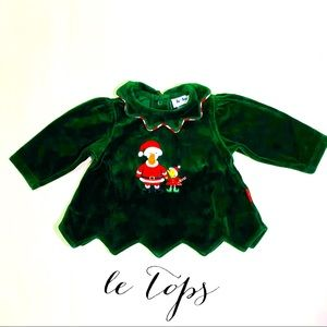 le tops green velvet holiday top duck embroidery